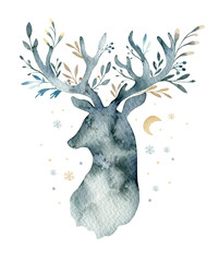 Wall Mural - Watercolor closeup portrait of cute deer. Isolated on white background. Hand drawn christmas illustration. Greeting card animal winter design decoration