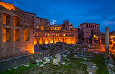 The Trajan's Market at sunset in Rome, Italy.