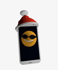 Handy mit Weihnachtsmannmütze und einem emoticon mit Sonnenbrille auf dem Handy.