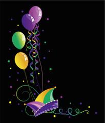 Karneval Narrenkappe Mardi Gras Luftschlangen Luftballons Konfetti Fasching