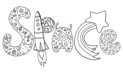 vector hand drawing letters with a pattern of space