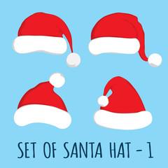Santa hat set on blue background. Vector Santa red hat. Flat vector illustration Santa hat. Red Santa hat isolated on blue.