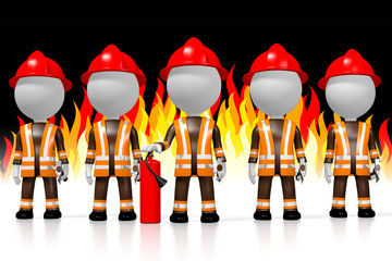 3D firemen, flames in background