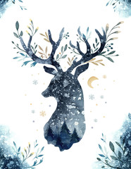 Watercolor closeup portrait of blue deer. Isolated on white background. Hand drawn christmas indigo illustration. Greeting card animal winter design decoration