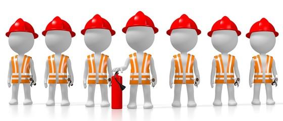 3D firemen, white background