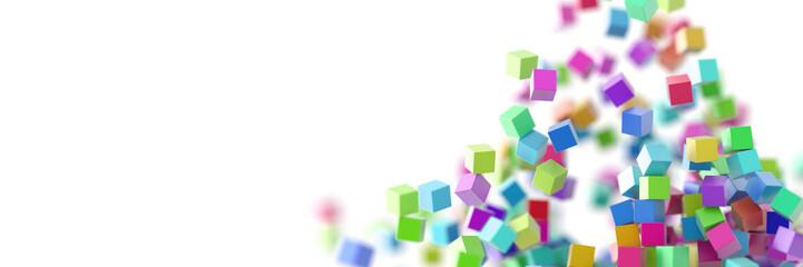 Exploding cubes, original 3d rendering
