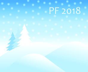 christmas winter landscape with snow covered hills and spruce tree with falling snow balls and text sign PF 2018 new year vector greeting card
