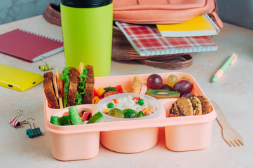 Lunch box with sandwiches, vegetable salad, fresh grape and kiwi, rice near bottle and backpack