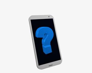 weißes Handy mit Fragezeichen, isoliert auf weiß.