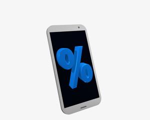 weißes Handy mit Prozentzeichen, isoliert auf weiß.