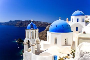 Spoed Foto op Canvas Santorini Santorini, widok na morze, cerkwie
