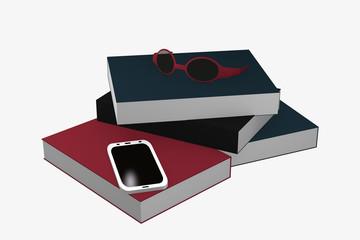 Bücherstapel auf dem ein Handy und eine Brille liegt.