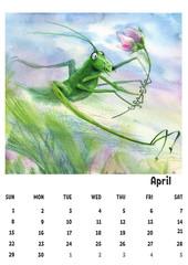 2018 calendar template april with watercolor grasshopper