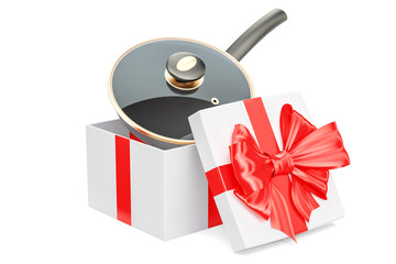 Frypan inside gift box, gift concept. 3D rendering