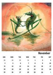 2018 calendar template november with watercolor grasshopper