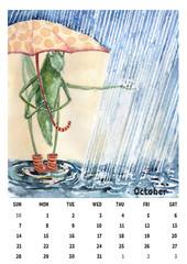2018 calendar template october with watercolor grasshopper