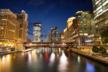 Night at Riverwalk Park in Downtown Chicago, Illinois