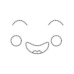 happy face emoji icon image vector illustration design black dotted line