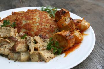 organisch, lifestyle, steinpilze, rösti, currywurst, gourmet, fast food, werbetafel, rucola, petersilie, urbano, modern, neu