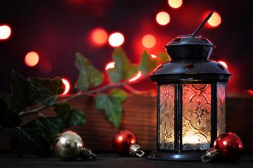 Christmas card with Christmas lantern and Christmas baubles