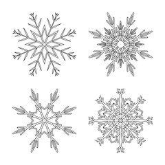 Snowflake design set outline for christmas isolated on white background