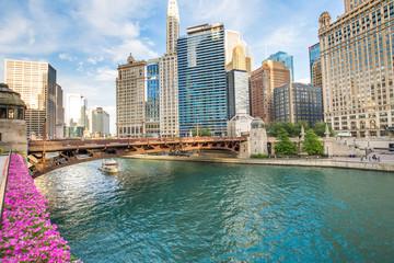 Northern Chicago River Riverwalk on North Branch Chicago River in Chicago, Illinois