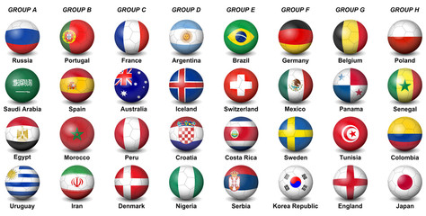 soccer balls flags countries final tournament  2018 football