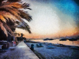 Tropical paradise landscape and palm trees. Stock. Big size pictorial art. Watercolor and oil mixed painting style. Good for printing art pictures, design postcard, posters and wallpapers