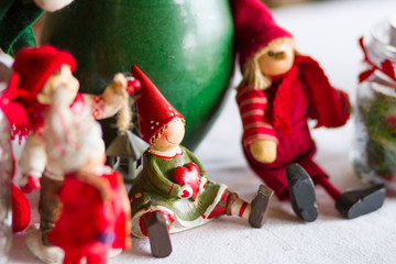 christmas decoration with antique toys