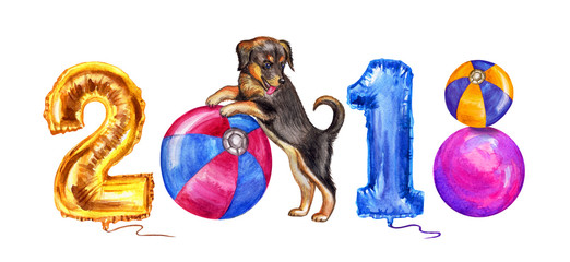 "Inscription ""2018"" of the air-digit balls and balls with a puppy, watercolor illustration for the new year."