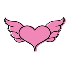 color heart with wings symbol love art