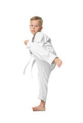 Little boy practicing karate on white background