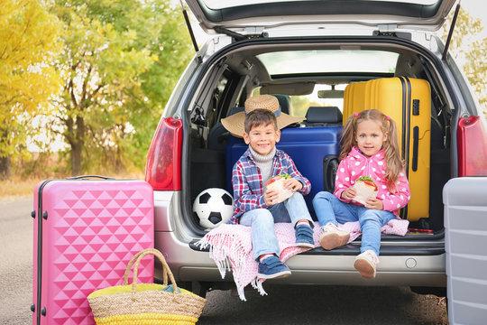 Cute children sitting in car trunk, outdoors