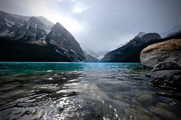 Lake Louise scenic view in autumn. Fall season on Lake Louise in Canadian Rocky Mountains.  Banff National Park. Alberta. Canada.