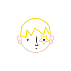 color line boy head with star tattoo and hairstyle