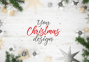 Top View Christmas Composition Mockup 2