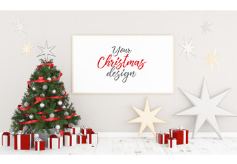 3D Rendering Frame Mockup with Christmas Tree