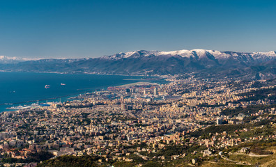 Aerial view of Genoa and its gulf seen from Monte Fasce