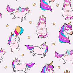 Cute fat unicorn pattern. Unicorn seamless pattern vector child design.
