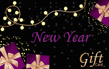 New year and Merry Christmas gift card with velvet gift boxes, lamp bulbs, dark gorgeous background with golden bubbles.