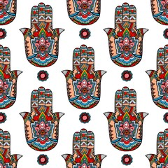 Vector Indian hand drawn hamsa symbol seamless pattern illustration for your web design.