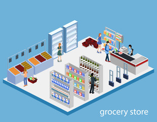 Isometric 3D vector illustration concept of a grocery store with buyers and cashier