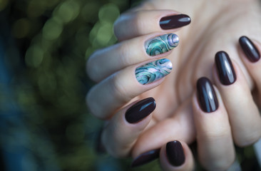 Beautiful Nail Art Manicure. Nail designs with decoration.Manicure nail paint. Nail Care And Manicure.