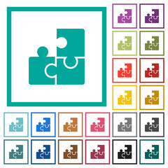 Puzzles flat color icons with quadrant frames