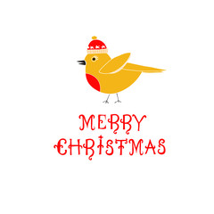 Merry Christmas Text with Cute Bird. Illustration