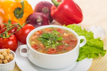 roasted tomato soup with beans, celery and sweet pepper