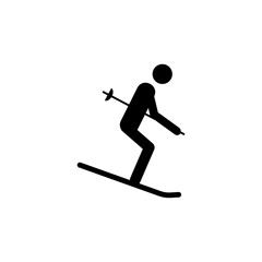 Silhouette Skier athlete isolated icon. Winter sport games discipline. Black and white design vector illustration. Web pictogram icon symbol for infographics