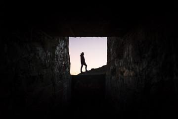 Silhouette hiker