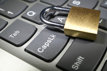 Cyber Security With Gold Lock On Keyboard High Quality