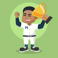 African baseball player holding trophy– stock illustration